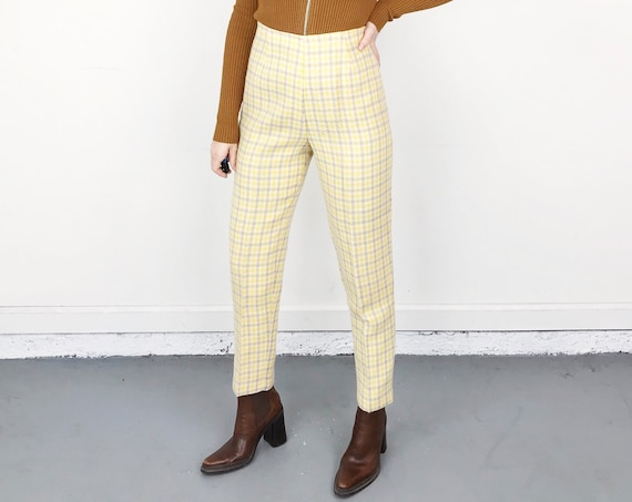 70's Plaid Knit High Waisted Trousers / Size 25 26