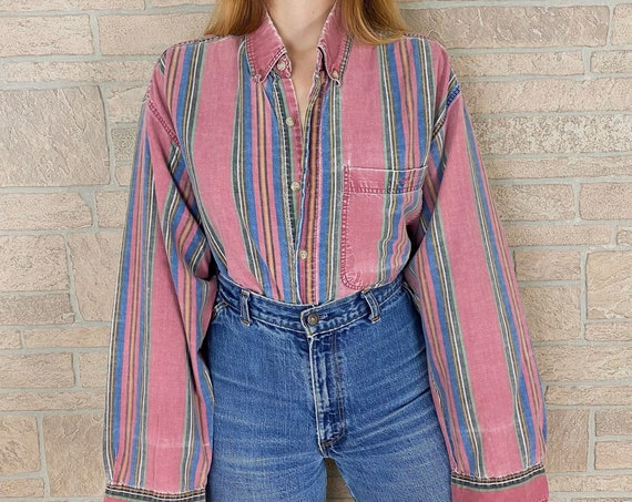 90's Faded and Worn Striped Button Front Oversized Shirt