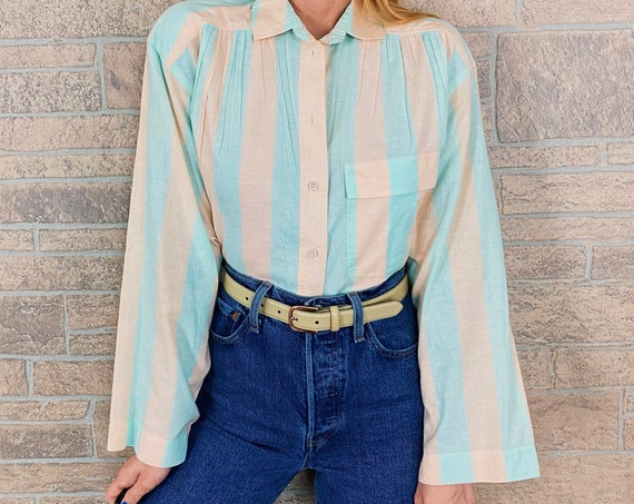 Vintage Oversized Beige and Mint Striped Blouse
