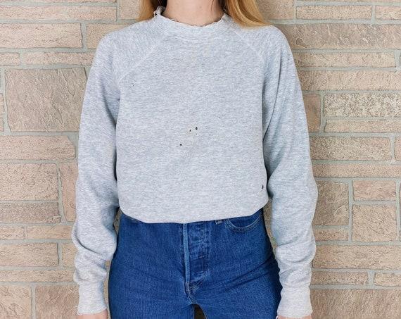 90's Destroyed Worn Grey Workwear Blank Pullover Sweatshirt