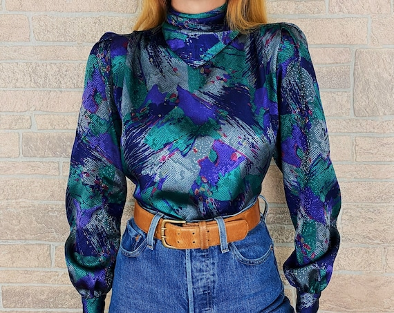 70's Vintage Abstract Print Blouse