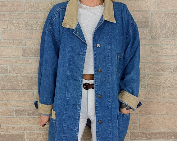 Oversized Denim and Corduroy Chore Coat