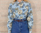 Chambray Floral Print Button Up Blouse