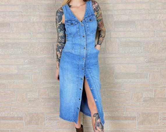 90's Soft and Faded Denim Midi Dress