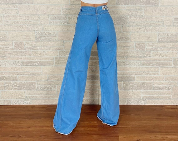70's Vintage High Rise Wide Bell Jeans / Size 23 24