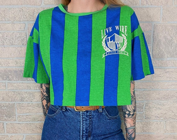 Vintage Striped Cropped T-Shirt