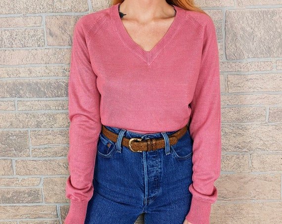 70's Lightweight Knit Rose Pink Blouse