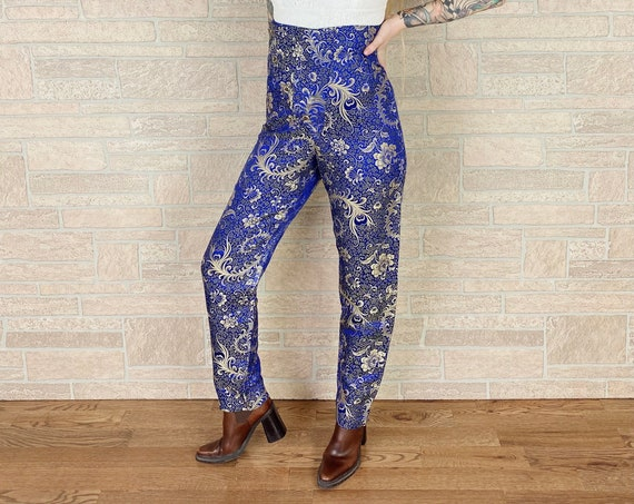 Avant Garde Ultra High Rise Embroidered Satin Peacock Feather Pants / Size 27