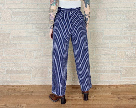 90's Navy Blue Pinstriped Linen Trousers Pants / Size 26 27