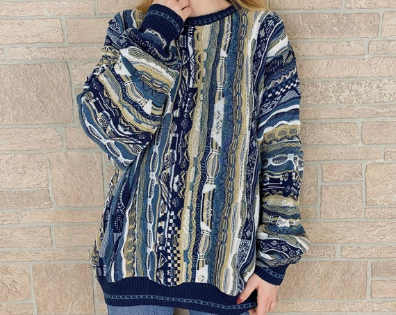 90's Chunky 3D Textured Knit Oversized Sweater