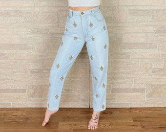 90's Fleur de Lis Embroidered High Rise Jeans / Size 27
