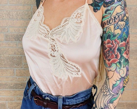 Vintage Pearl Pink Lace Lingerie Cami Slip Top