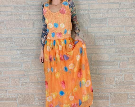 Summer Floral Sleeveless Maxi Dress / Size Large