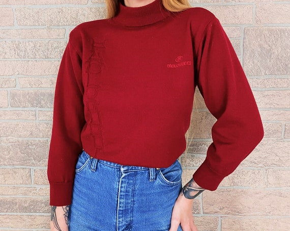 Paolo Gucci Red Knit Mock Neck Spell Out Sweater
