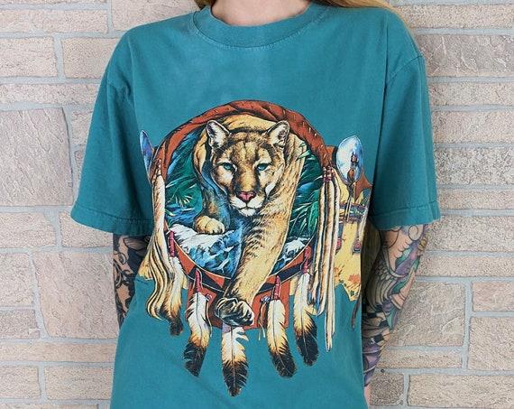 90's Mountain Lion Wrap Around Print Southwestern Tee