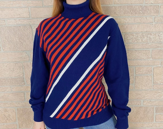 60's Mod Knit Turtleneck Striped Pullover Sweater