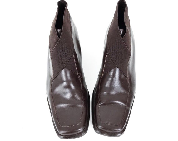 Brown Leather Mod Elastic Ankle Boots / Size 8.5