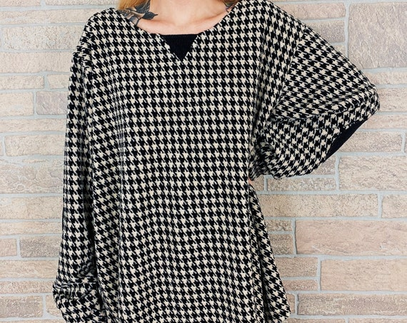 Cozy Oversized Houndstooth Print Pullover