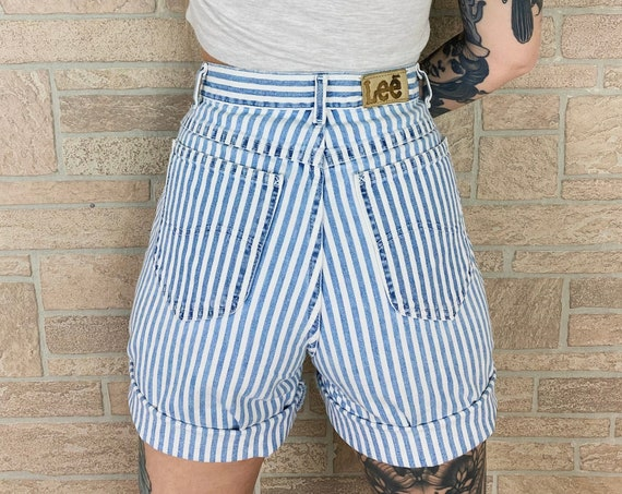 LEE Riders Pinstriped High Waisted Shorts / Size 26