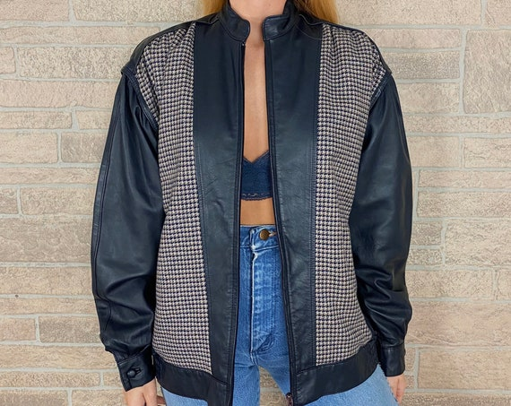 80's Houndstooth Tweed and Leather Jacket