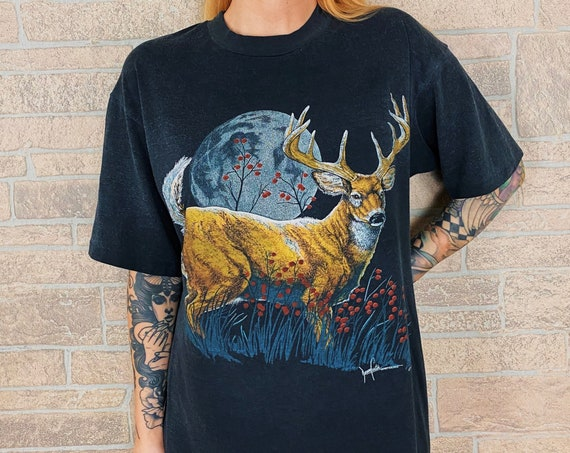 1991 Faded and Worn Deer Nature T-Shirt