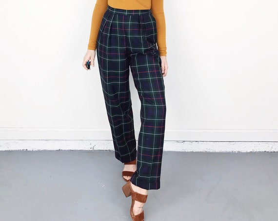 Wool High Waisted Plaid Tartan Trousers / Size 26