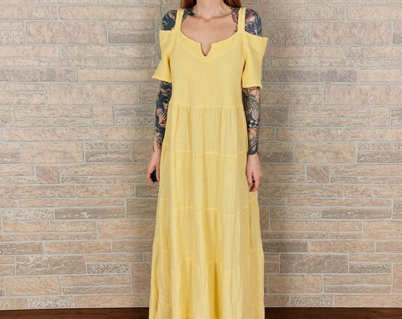 90's Yellow Tiered Summer Maxi Dress
