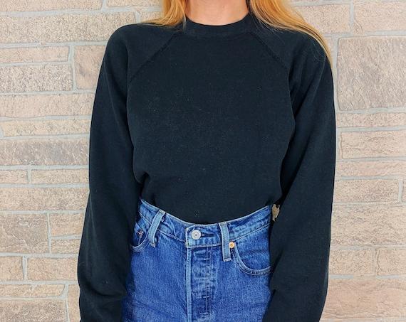 Vintage 80's Faded Black Raglan Pullover Sweatshirt