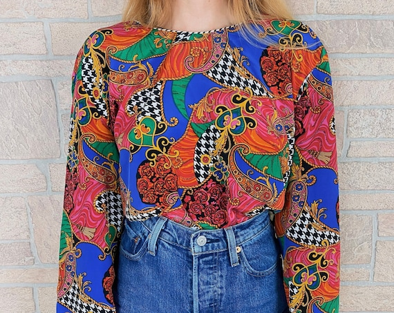 Funky Houndstooth Paisley Print Blouse