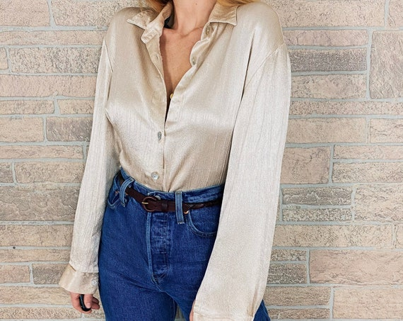 Chic Pearl Textured Button Up Blouse