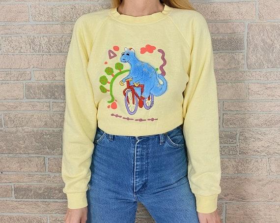 Retro Kitsch Fuzzy Dinosaur Sweatshirt