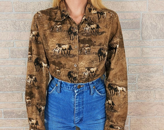 Western Wild Horses Print Button Up Shirt