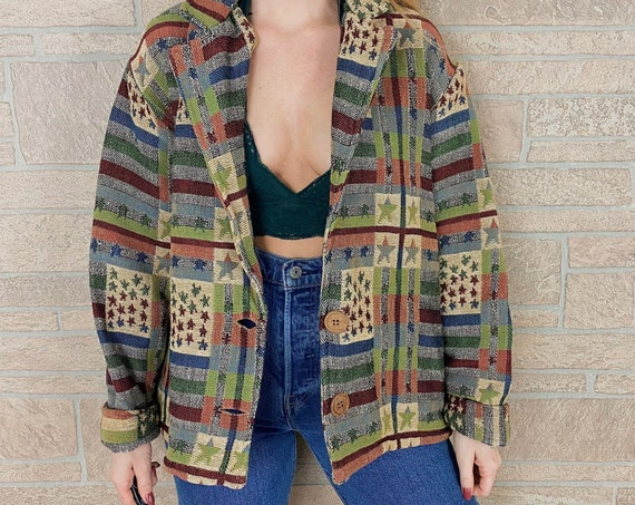 90's Tapestry Woven Knit Oversized Jacket