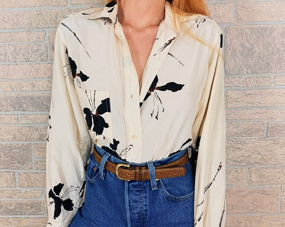 Silk Minimalist Abstract Floral Print Blouse