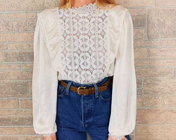Vintage Cream Silky Victorian Romantic Ruffle and Lace Blouse