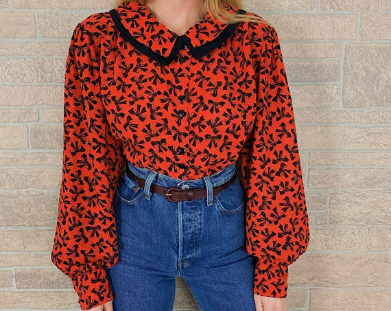 80's Red and Black Bow Print Button Up Blouse