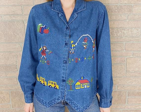 90's Kitsch Teacher School Novelty Print Embroidered Top