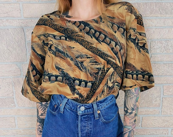 90's Abstract Feather Print Boxy Blouse