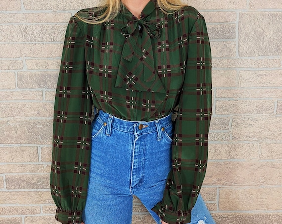 60's Plaid Print Neck Tie Ruffle Blouse