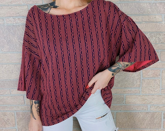Oversized Pink Funky Print Striped Tee