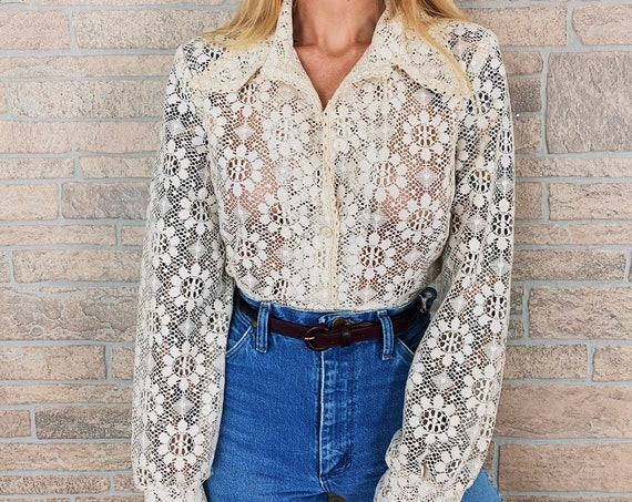 60's Sheer Lace Floral Blouse