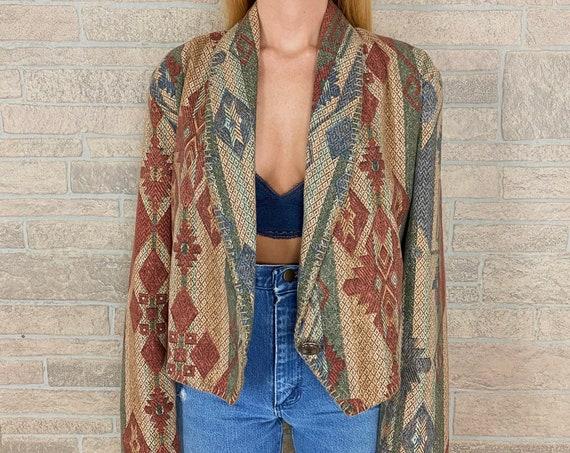 Southwestern Baja Print Blazer Jacket