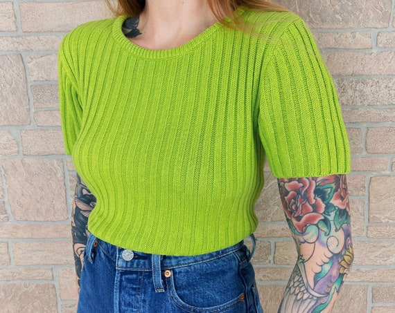 Minimalist 90's Lime Green Ribbed Knit Pullover Top