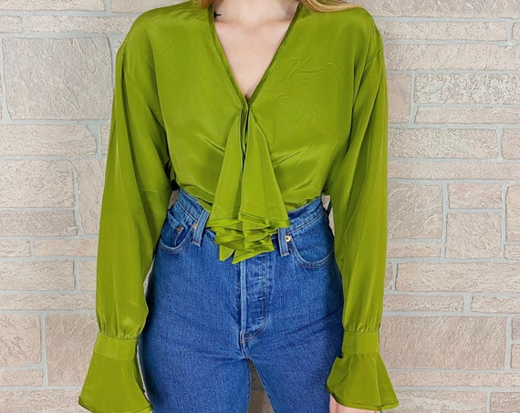 Pure Silk Chartreuse Vintage Chic Ruffle Blouse