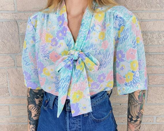 Sheer Pastel Floral Necktie Button Up Blouse