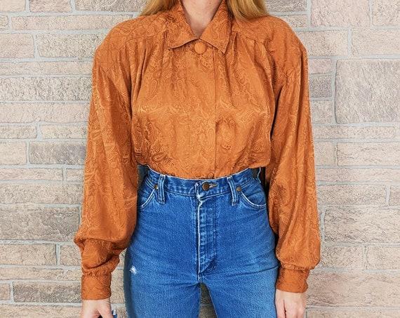 Vintage Amber Pure Silk Paisley Blouse