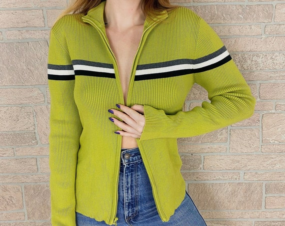 Gap Striped Chartreuse Zip Up Striped Knit Sweater Top