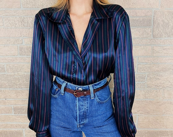 Vintage Chic Silky Striped Button Up Blouse