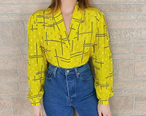 70's Mod Retro Yellow and Black Button Front Blouse