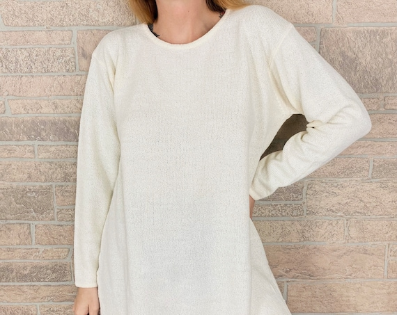 Minimalist 90's Express Tricot White Light Knit Pullover Top